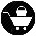 shopping car with bag icon